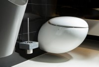 Modern Toilet Brush Holder real concrete with stainless steel insert in Bauhaus Design, wall mounting