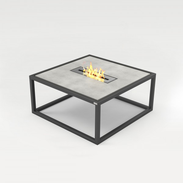 tabula sponda ignis | Lounge table in steel and concrete with fireplace