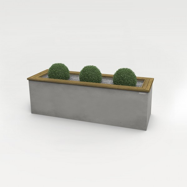 angulus herba | Concrete Planter with Wooden Frame
