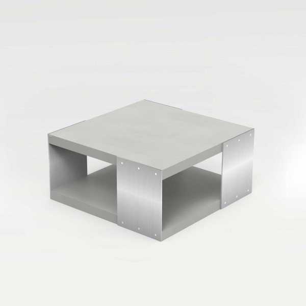 tabula ticus magno 2 | Concrete Couch Table with 2 Concrete Slabs and Steel Plates