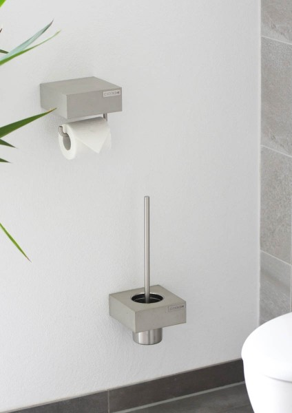 pure concrete toilet brush holder with high quality stainless steel insert in a set with concrete toilet roll holder