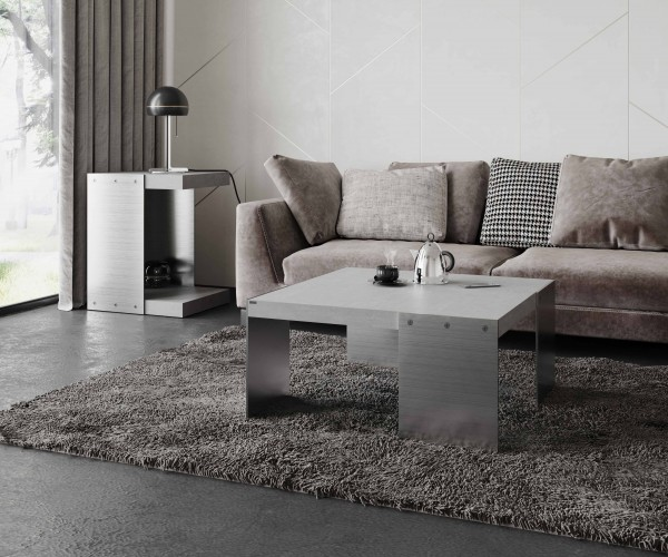 tabula ticus magno | Concrete Couch Table with Steel Plates