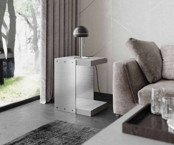 tabula ticus | Concrete Side Table with Steel Plates