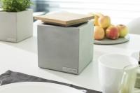 angulus depono | Concrete storage container with wood lid (small)