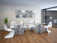 tabula perforare | Concrete and glass dining table (rectangular)