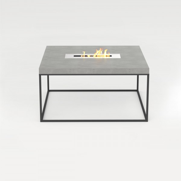 tabula cubicolo ignis | Table with steel frame and overlaying concrete plate and fireplace