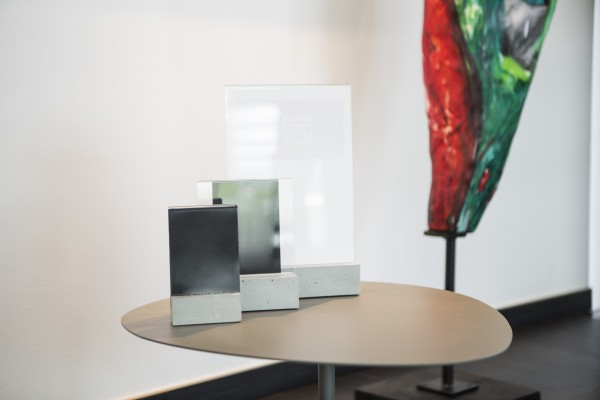 sturdy table display made of real concrete with plexiglass pocket in A4, A5, A6