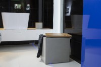 Concrete laundry bin with premium solid wood lid
