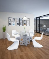 tabula perforare | Concrete and glass dining table (round)